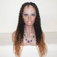 Cheap Ombre Full Lace Human Hair Wigs 100% Brazilian Remy kinky curly two tone color wigs Glueless Front Lace wig for black women cheap