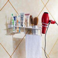 bathroom standing towel racks - Price Alumimum Hair Dryer Storage Towel Toothbrush Shelf Organizer Rack Comb Holder Wall Mounted Stand Home Bathroom