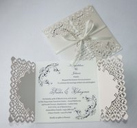 Wholesale 50 Wedding Invitations Laser Cut Customizable Hollow Crystal Lace Bow Ribbon Wedding Invitation Cards Supplies Printable Cards