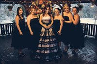 black and white bridesmaid dress - Junior Short Black Bridesmaids Dresses For Black And White Gothic Wedding Dress Tea Length Pus Size Bridesmaid Dress under Party Gowns