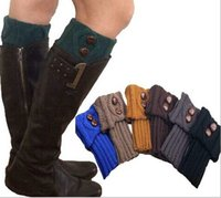 Wholesale Women short solid Knitted Leg Warmers fashion boot cuff lace knit leg warmers