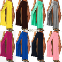Wholesale 4 colors New Popular Trends High Waisted Double Slits Long Skirt Sexy Women Maxi Skirt