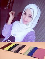 arabic turban hijab - Muslim Bridal Veils Chiffon Rhinestone hijab underscarf robe abaya CM Colorful Turbans Arabic Keffiyehs Scarves WJ009A