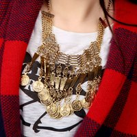 vintage style - 2015 new design bohemian style jewelry fashion vintage alloy metal tassel pendant turkish Indian coin necklace for women J0064