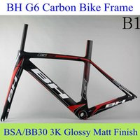 Wholesale BH G6 Carbon Bike Frame Black Red BB30 BSA Real Carbon Fibre Bicycle Parts Offering Fork Seatpost Headset Clamp Cycling Frameset