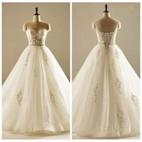 amazing flowers photos - Amazing Real Photos A Line Wedding Dresses Lace Appliques Beaded Pearls Crystal Floor Length Flowers Adorned Lace Up Back Bridal Gowns