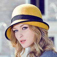 Wholesale Women Cloches Wool Felt Wide Brim Bowler Cloche Hats Cute Bowknot Bucket Caps Top Hats Winter Warm Hat