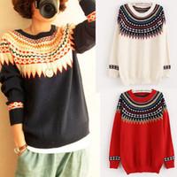 aztec knitwear - Winter Women Colorful Geometric Crochet Knitwear Tops Jumpers Vintage Retro Ethnic Aztec Tribal Pullovers Casual Sweater
