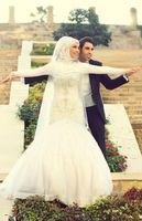 arab veil - Long Sleeves Mermaid Wedding Dress with Beaded Crystals Arab Muslim Floor Length Custom Made Bridal Gowns With Veil