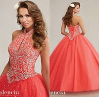 Wholesale 2016 Quinceanera Ball Gowns Dresses Halter Blue Coral Lace Up Tulle Crystals Beaded Floor Length Princess Prom Dresses