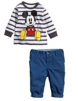 Wholesale H autumn new boy Mickey striped shirt trousers size T T T T T T