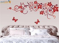 flower stickers wall - dark red flower wall art zooyoo1702 living room diy removable wall sticker bedroom wall decals home decorations