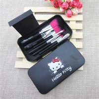 mini make up kit - 2015 Newest Black Hello Kitty Makeup Brush Set Mini Size Professional Facial Cosmetics Make Up Brushes Set With Metal Box