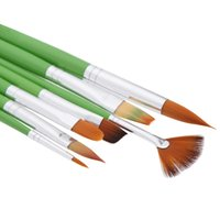 Wholesale 7pcs Different Shape Nylon Hair Paint Brush Set Wooden Handle Gouache Watercolor Oil Painting Acrylics Art Supplies H14893