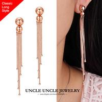 Wholesale Classic Long Style Tassels Woman Earring Rose Gold Plated Rhinestones Setting Tassel cm Lady Drop Earrings KRGP