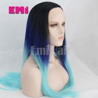 Wholesale Fashion Synthtic Straight Long Silk Hair Lace Front Wig Glueless Long Two Tone Color Purple To Blue Heat Resistant Hair Wigs For Women
