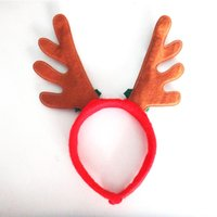 Wholesale New Christmas Headdress Party Ornaments Red Reindeer Antler Headband Santa Hat for Christmas Day