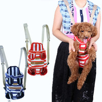 Wholesale Striped Pet Cats Chest Carrier Bag Dogs Backpack Four Legs Front Double shoulder Carriage Bags Portable Durable Canvas Outdoor Travel bag