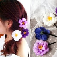 acrylic flower brooch - Cute Hair Pins hair clips Satin chiffon flower hair clip Brooch Artificial Silk Flowers Camellia Rose Hair Accessories Hairpin Edge Clips