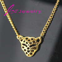 african cheetah - 18k gold Tiny leopard head Pendant Necklace Cheetah African safari wild animal Statement necklaces fine jewelry