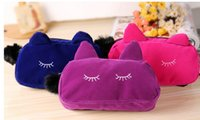 Cheap Wholesale-Portable Cartoon Cat Coin Storage Case Travel Makeup Flannel Pouch Cosmetic Bag 3574