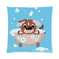 bath designs pictures - Design Fashionable Cute Cartoon Puppy Dog In Bath Picture Zippered Cushion Case x18 Inch one side