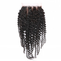 Wholesale Cheap A Brazilian Kinky Curly Hair Lace Closure Free Middle Part Size x4 inch Human Afro Kinky Curly Hair Closures