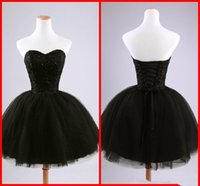 ball ties - Real Image Black Short Cocktail Dresses Sweetheart Beaded Lace Tulle Tie up Back Ball Gown Mini Party Dresses Prom Gowns Custom Made C50