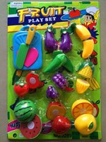 Wholesale play house toy earning education plastic fruit greenstuff sets qieqie kitchen toy pretend play fun Cut fruit toys kids baby gift
