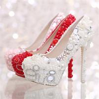 amazing bridal shoes - Amazing Rhinestone Beaded Bridal Wedding Shoes Pumps High Heels Round Toe Princess Ivory Shoes Glitter Evening Dresses Shoes
