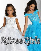 Wholesale 2015 Red Ritzee Girls Big Girls Pageant Dresses Off Shoulder Ruffless Ball Gowns Flower Girls Dress Capped Little Girls Graduation Gown