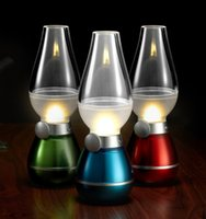 Wholesale New LED Blowing Control Lamp Retro Kerosene Lamp USB Rechargeable Lamps LED Blow On Off Night Light