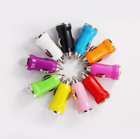 Wholesale Universal Colorful Bullet Mini USB car charger for iPhone S s c S for iPod MP3 MP4 for HTC Samsung s5 s4 note mobile Tablet PC