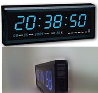 Relojes relojes de pared del envío libre vía DHL, reloj de pared de aluminio grande LED Digital reloj grande Diseño Decoración casera moderna decoración azul
