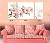 Cheap 2014 Modern Home Interior Decorative Canvas Oil Painting Lily Vine Printed Art Picture Wall Mural Room Decoration D605-607 Sales