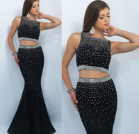Wholesale Sexy Black Shirt Holes - Two Pieces 2016 Prom Dresses Black Mermaid Beading Formal Evening Gowns Party Dress With Jewel Neck Key Hole Backless Vestidos