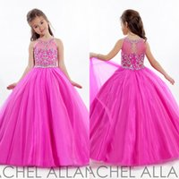Wholesale 2015 Glitz Girl s Pageant Dresses Gowns Kids Ball Gown Flower Girls Dress Floor Length Party Hot Pink Sleeveless Beaded Crystals AL060504