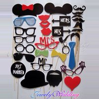 Wholesale Photo Booth Set Party wedding photography Photo Booth Prop Trendy Mustache Eye Glasses Lips on a Stick Mask