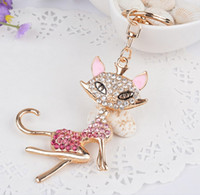 beautiful souvenirs - Beautiful Fox Lady Hanging Key Rings Car Key Chain Novelty Alloy Crystal Keychain Souvenir Gifts Present Bag Pendant Blue Pink K3111
