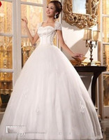 Wholesale Long Off Shoulder Bags - 2016 new wedding dress diffuse word shoulder bride wedding gowns elegant white wedding dress shoulder bag bridal gowns