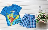 Cheap 30pcs 2015 Hot sale 100% Cotton baby kids pajamas Spiderman superman Micky Summer kids suits Outfits Cartoon kids pajamas sets