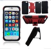 Cajas de teléfono resistentes con clip de cinturón Kickstand cubierta a prueba de golpes para el iPhone 6 Plus / iPhone 6S más TPU suave + bolsas de plástico duro del teléfono