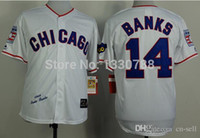 banks shirts - 2015 New Chicago Cubs Ernie Banks Jersey White Home Stitched Cheap Mens Retro Throwback Cubs Baseball Jerseys Shirts