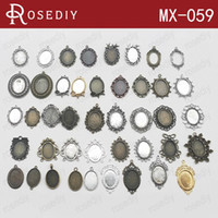 bezels - Total Random Mixed style Zinc Alloy Trays Bezels Pendants Oval Cabochon Beads Settings Diy Jewelry Findings