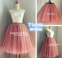 2016 yuppies moda 7 capas 26 colores 25 largo faldas mujeres Tutu tul pura falda las damas de honor vestido de Saias Femininas Jupe YFS060165