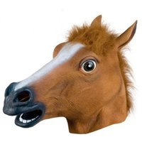 adult christmas humor - Cheap Halloween Bauta Horsehead Masks Full Face Women Men Party Masks Adults Fashion Humor Animal Mask Soft Brown New Hot Sale