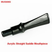 Cheap Wholesale-MUXIANG Free Shipping Pipe Fittings Black Straight Saddle 9mm Filter Acrylic DIY Briar Wood Smoking Pipe Mouthpieces be0059