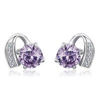 amethyst clip earrings - Platinum plated amethyst earrings Round CZ earrings simple and elegant lady earrings