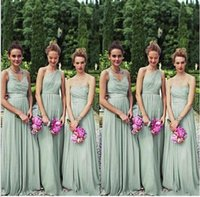 Wholesale 2017 New Beach Bridesmaid Dresses Long Floor One Shoulder Styles Wedding Party Gowns Custom Made Plus Size Green Formal Evening Dresses