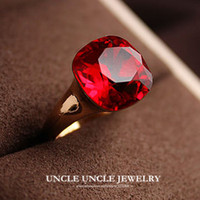 artificial rubies - Woman Artificial Red Ruby Crystal Ring Rose Gold Plated Top Quality Luxury Dark Red Square Finger Ring krgp stamp